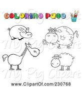 Swine Clipart of Cartoon Digital Collage of Farm Animal Coloring Page Outlines by Hit Toon