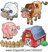 Swine Clipart of Cartoon Digital Collage of Farm Animals and a Barn by Visekart