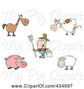 Swine Clipart of Cartoon Digital Collage of Farm Animals and a Farmer by Hit Toon