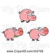 Swine Clipart of Cartoon Digital Collage of Pink Pigs by Hit Toon