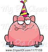Swine Clipart of Cartoon Drunk Birthday Pig Wearing a Party Hat by Cory Thoman