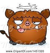 Swine Clipart of Cartoon Drunk Boar Character Mascot by Cory Thoman