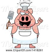 Swine Clipart of Cartoon Drunk Chef Pig Holding a Spatula by Cory Thoman