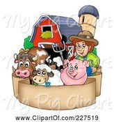 Swine Clipart of Cartoon Farmer by His Livestock, Barn and Silo over a Blank Parchment Banner by Visekart