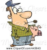 Swine Clipart of Cartoon Farmer Holding His Pig by Toonaday