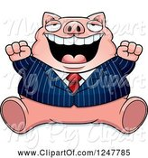 Swine Clipart of Cartoon Fat Business Pig Sitting and Cheering by Cory Thoman