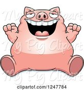 Swine Clipart of Cartoon Fat Pig Sitting and Cheering by Cory Thoman