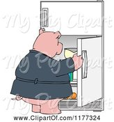 Swine Clipart of Cartoon Fat Pig Staring into a Fridge by Djart