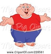 Swine Clipart of Cartoon Fat Pig Wearing Clothes, Standing Upright with Open Arms by Yayayoyo