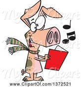 Swine Clipart of Cartoon Festive Pig Singing Christmas Carols by Toonaday