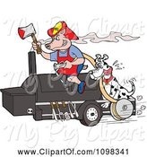 Swine Clipart of Cartoon Fireman Dalmation and Pig on a Smoker Bbq by LaffToon
