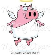 Swine Clipart of Cartoon Flying Angel Piggy with a Halo by Cory Thoman