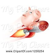 Swine Clipart of Cartoon Flying Piggy Bank on a Rocket by AtStockIllustration