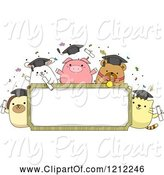 Swine Clipart of Cartoon Frame with Graduation Animals and Confetti by BNP Design Studio