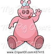 Swine Clipart of Cartoon Friendly Pig Sitting and Waving by Cory Thoman