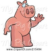 Swine Clipart of Cartoon Friendly Pig Standing on His Hind Legs and Waving by Cory Thoman