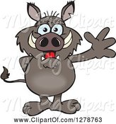 Swine Clipart of Cartoon Friendly Waving Boar Standing by Dennis Holmes Designs