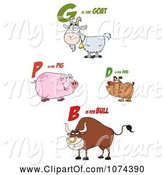 Swine Clipart of Cartoon Goat Pig Dog and Bull with Letters by Hit Toon