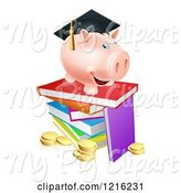 Swine Clipart of Cartoon Graduate Piggy Bank on a Pile of Books over Coins by AtStockIllustration