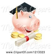 Swine Clipart of Cartoon Graduate Piggy Bank with a Certificate and Gold Coins by AtStockIllustration