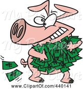 Swine Clipart of Cartoon Greedy Pig with Money by Toonaday