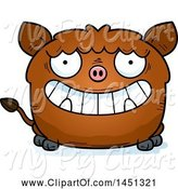 Swine Clipart of Cartoon Grinning Boar Character Mascot by Cory Thoman