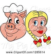 Swine Clipart of Cartoon Grinning Chef Pig Face and Blond Haired Girlfriend by LaffToon