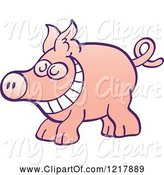 Swine Clipart of Cartoon Grinning Pig by Zooco
