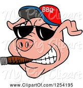 Swine Clipart of Cartoon Grinning Pig Smoking a Cigar, Wearing Sunglasses and a Bbq Hat by LaffToon