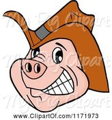 Swine Clipart of Cartoon Grinning Pig Wearing a Cowboy Hat by LaffToon