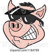Swine Clipart of Cartoon Grinning Pig Wearing a Sun Visor Hat and Sunglasses by LaffToon