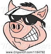 Swine Clipart of Cartoon Grinning Pig Wearing a White Sun Visor Hat and Sunglasses by LaffToon