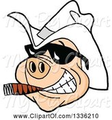 Swine Clipart of Cartoon Grinning Pig Wearing Sunglasses and a White Cowboy Hat, Smoking a Cigar by LaffToon