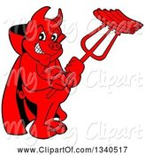 Swine Clipart of Cartoon Grinning Red Pig Devil Holding Bbq Ribs on a Trident by LaffToon