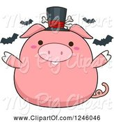 Swine Clipart of Cartoon Halloween Pink Pig with Bats and a Top Hat by BNP Design Studio
