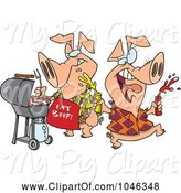 Swine Clipart of Cartoon Happy Pigs at a BBQ by Toonaday