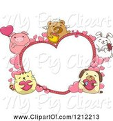 Swine Clipart of Cartoon Heart Frame with Cute Chubby Animals by BNP Design Studio