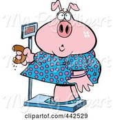 Swine Clipart of Cartoon Heavy Pig Eating a Donut on the Scale by Toonaday