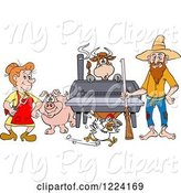 Swine Clipart of Cartoon Hillbilly Couple by a Bbq Smoker with a Cow Chicken and Pig by LaffToon