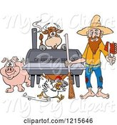 Swine Clipart of Cartoon Hillbilly Guy with a Rifle, Holding Ribs by a Bbq Smoker with a Cow Chicken and Pig by LaffToon