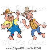 Swine Clipart of Cartoon Hillbilly Pigs Fighting by LaffToon