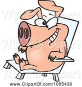 Swine Clipart of Cartoon Hog Relaxing in a Chair on Pig Day by Toonaday