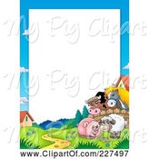 Swine Clipart of Cartoon Horse and Cow Looking over a Fence at a Pig in Mud and Sheep Border Frame by Visekart