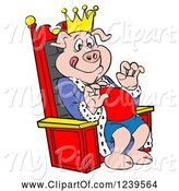 Swine Clipart of Cartoon Hungry Bbq King Pig Sitting on a Throne by LaffToon
