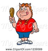 Swine Clipart of Cartoon Hungry Girl Pig Holding a Chicken Drumstick by LaffToon