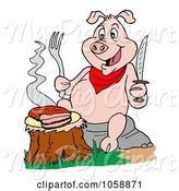 Swine Clipart of Cartoon Hungry Pig Eating a Trip Tip Steak on a Stump by LaffToon