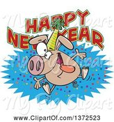 Swine Clipart of Cartoon Hyper Pig Wearing a Party Hat and Jumping over a Happy New Year Greeting by Toonaday