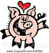 Swine Clipart of Cartoon Infatuated Pig Smiling - 2 by Zooco