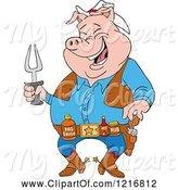 Swine Clipart of Cartoon Laughing Cowboy Pig Holding a Bbq Fork and Wearing Sauces on a Belt by LaffToon