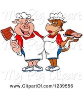 Swine Clipart of Cartoon Male Chef Pig Holding Ribs and Female Chef Cow Holding Brisket by LaffToon